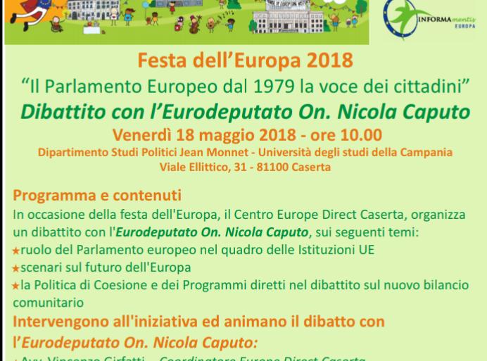 Europe Day 2018 – Dibattito con l'Eurodeputato On. Nicola Caputo – 18 Maggio ore 10.00 Università degli Studi della Campania Vanvitelli