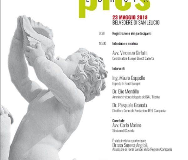 Europe Direct Caserta 23 maggio 2018  al Belvedere di San Leucio per supportare la campagna d'ascolto PICS Europa del Comune di Caserta