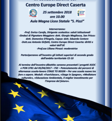 """Incontro-dibattito """"Giovani@EU&ASOC"""" 25 settembre 2018 presso il Liceo Statale S.Pizzi di Capua"""