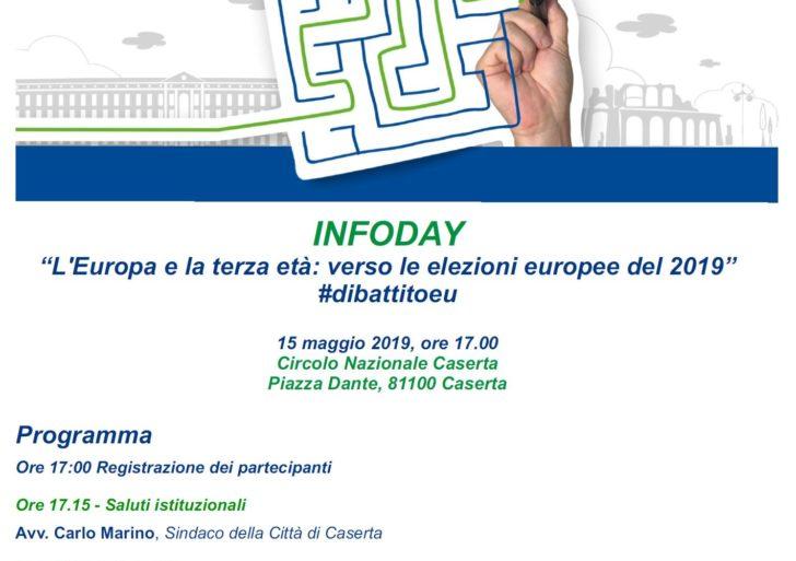 """""""L'Europa e la terza età verso le elezioni europee del 2019"""" #dibattitoeu – 15 maggio 2019 ore 17.00 presso il Circolo Nazionale Caserta"""