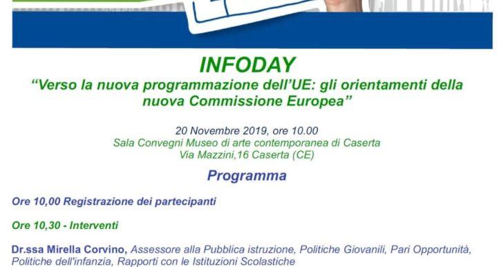 Verso la nuova programmazione dell'UE: gli orientamenti della Nuova Commissione Europea – mercoledì 20 novembre 2019 ore 10.00 sala convegni Museo d'Arte Contemporanea Via Mazzini 16 Caserta