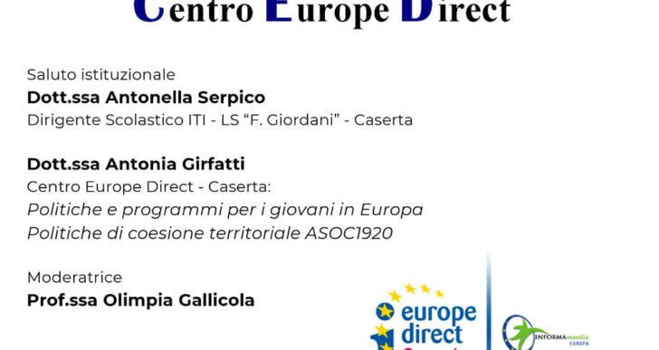 """Incontro-dibattito """"Giovani@EU&ASOC"""" 13 novembre 2019 presso l'Istituto ITIS – LS Giordani di Caserta"""