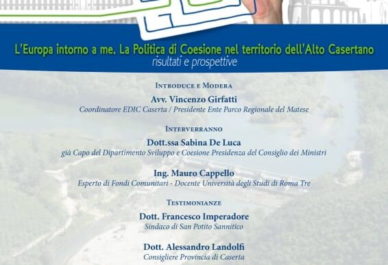 L' Europa intorno a me. La politica di Coesione nel territorio dell'Alto casertano, risultati e prospettive – 30 settembre 2020