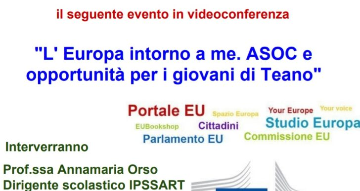 """L'Istituto IPSSART di Teano organizza in collaborazione col Centro EDIC: """"L'Europa intorno a me. ASOC e opportunità per i giovani di Teano!"""""""