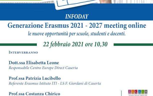 Generazione ERASMUS 2021 – 2027 meeting online: le nuove opportunità per scuole, studenti e docenti
