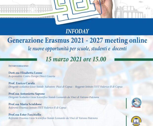 """15 marzo """"Generazione ERASMUS 2021 – 2027 meeting online: le nuove opportunità per scuole, studenti e docenti""""."""
